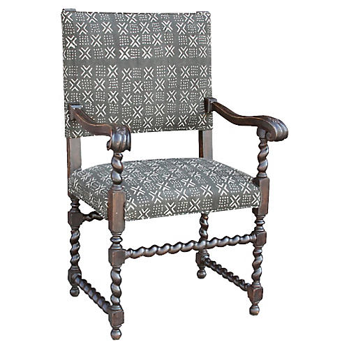Antique Charcoal Upholstered Armchair