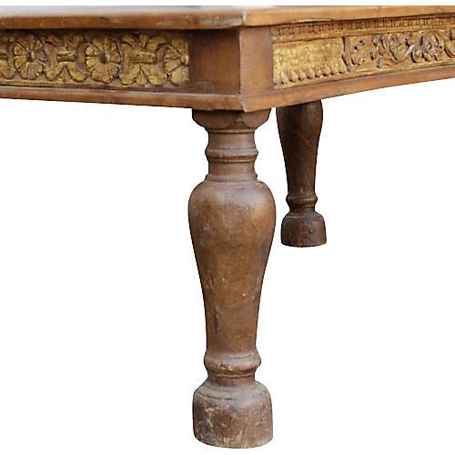 Golden Teak Carved Takhat Table