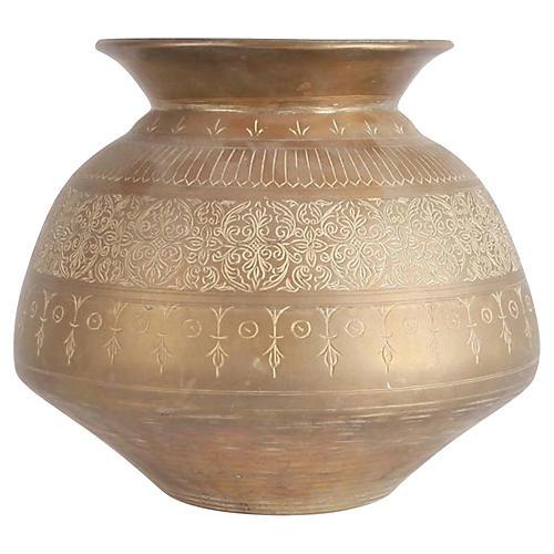 Engraved Brass Bulbous Vase