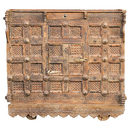 Tribal Carved Damachiya Dowry Cabinet
