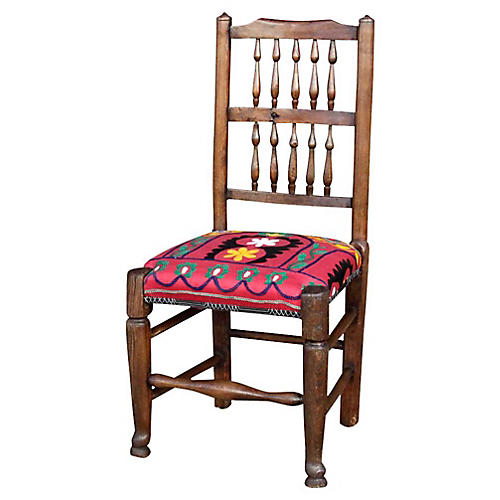 19th-C. English Spindleback Suzani Chair