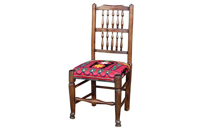 19th-C. English Spindleback Suzani Chair