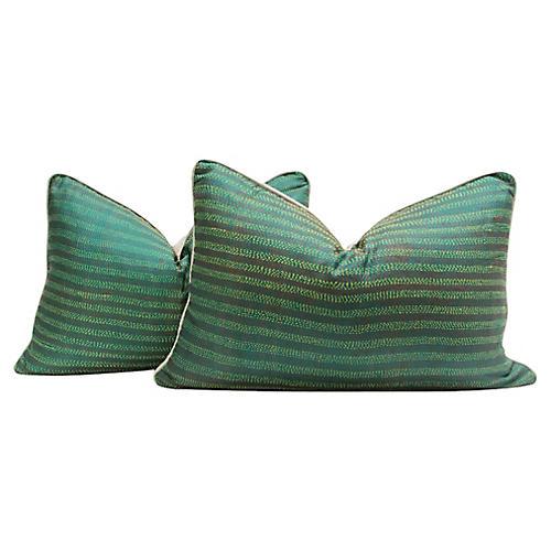 Mantis Bengal Silk Kantha Pillows, Pair