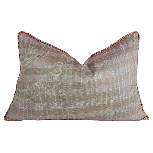 Moss Silk Kantha Pillow