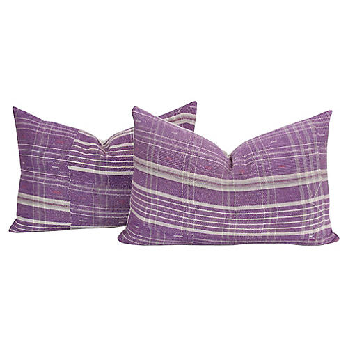 Plum Bengal Kantha Lumbar Pillows, Pair