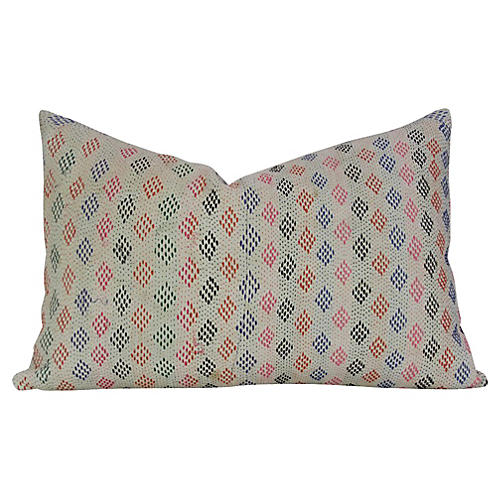 Diamond Bengal Kantha Lumbar Pillow
