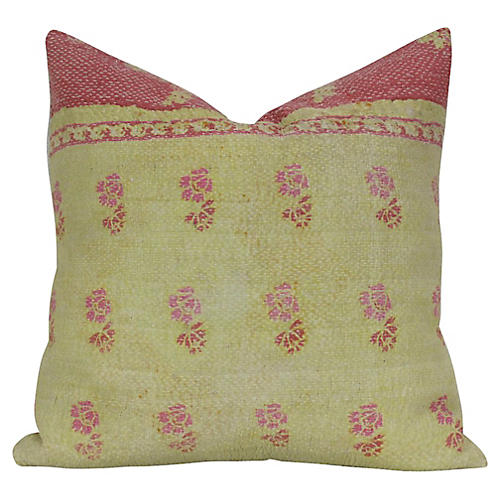 Yellow Bengal Kantha Pillow