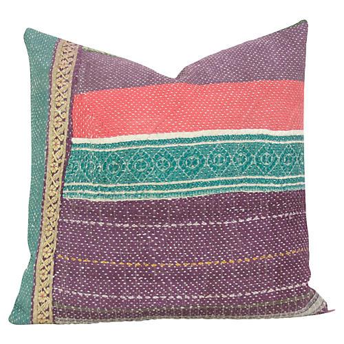 Baingani Bengal Kantha Pillow
