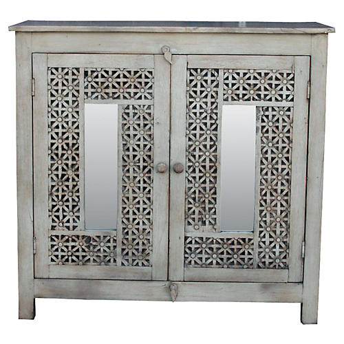 Carved Aged White Moorish Cabinet