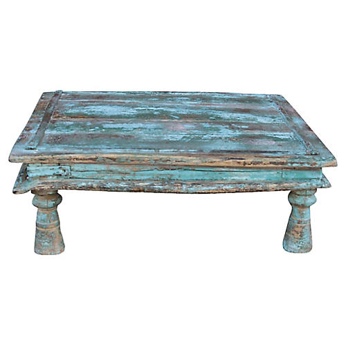 Distressed Turquoise Bajot Table