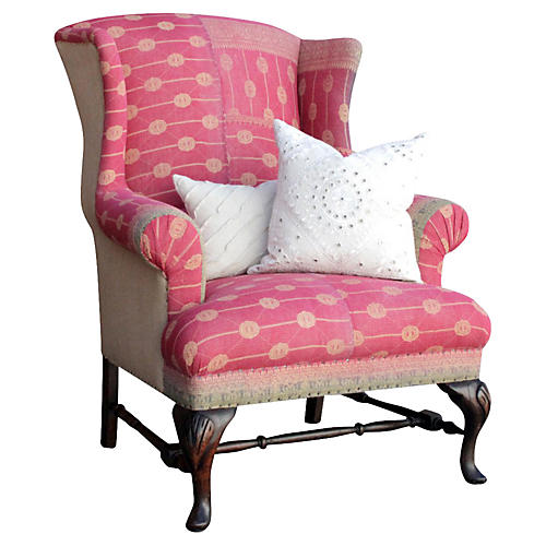 English Kantha Wingback Chair