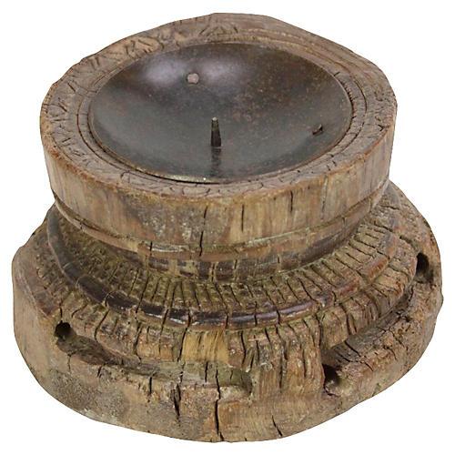 Carved Bijani Candleholder