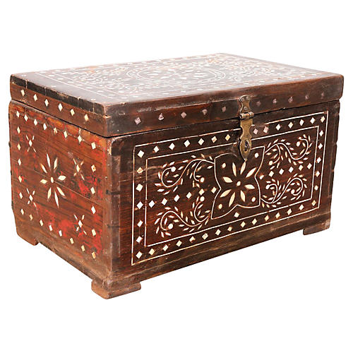 Bone Inlaid Antique Trunk