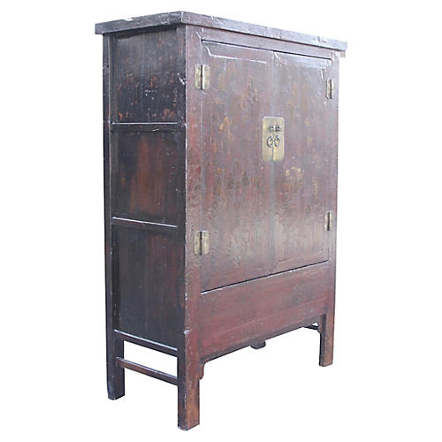 Chinoiserie Red & Gilt Asian Armoire