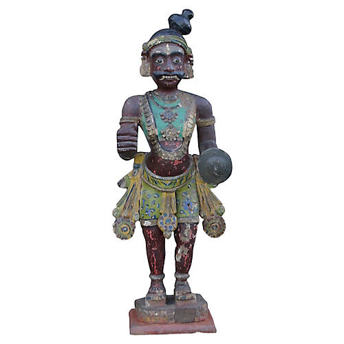 Antique Polychrome Southern India Statue