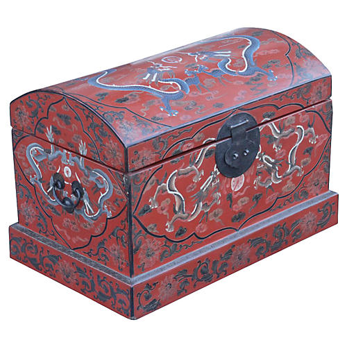 Chinese Red Lacquered Dome Top Trunk