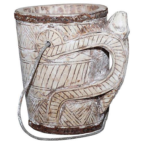 Naga Carved Tribal Water Bucket