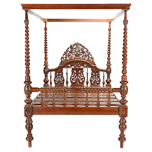 19th C. Anglo Indian Canopy Bed