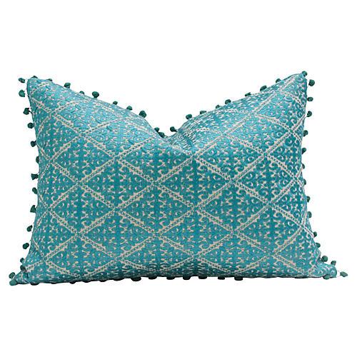 Swati Turquoise Pom Pom Pillow