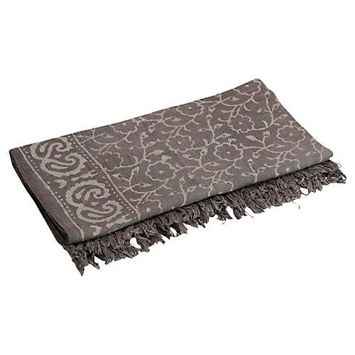 Floral Taupe Batik Throw