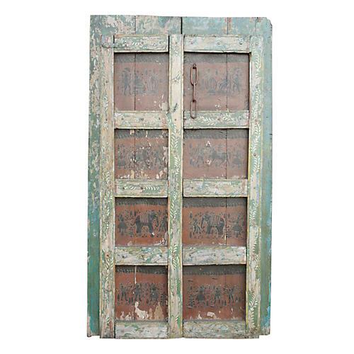 Orissa Tribal Painted Doors, Pair