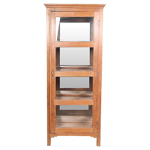 Early 20th C. Colonial Glass Cabinet
