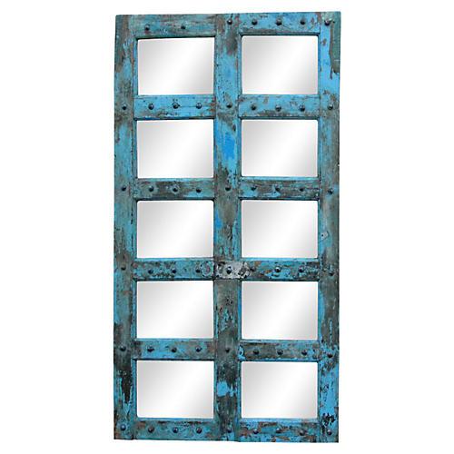 Antique Azul Window Mirror