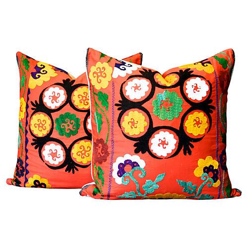 Large Prasun Suzani Pillows, Pair