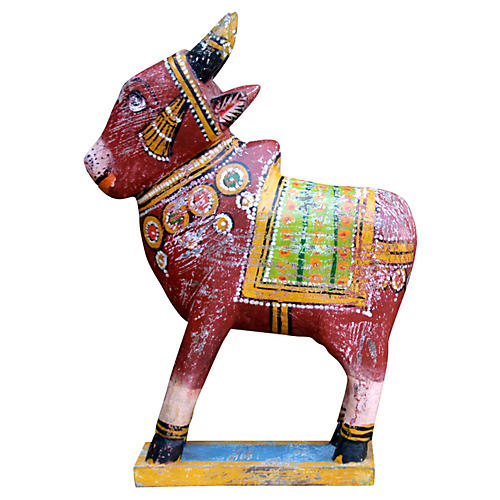 Red Painted Cow Statue