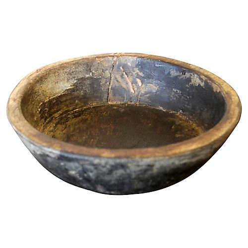 Dark Wood Dough Bowl