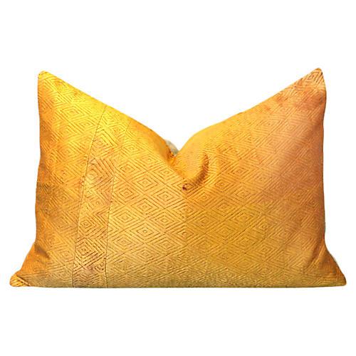 Hemal Golden Phulkari Lumbar Pillow