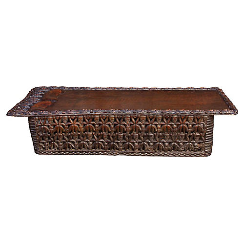 African 20th C. Bamileke Carved Bed