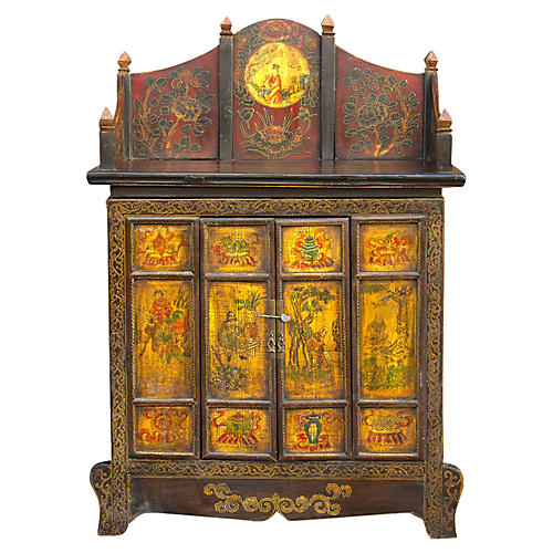 19th C. Tibetan Hand Painted Cabinet