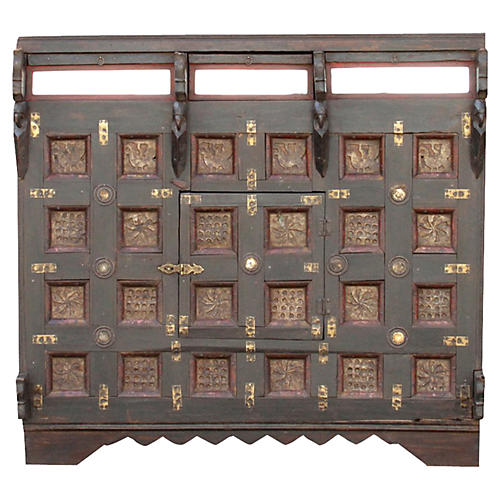 Aged Festive Brass Paneled Damachiya