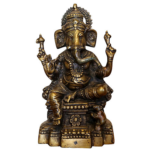 Brass Seated Ganesh Statue