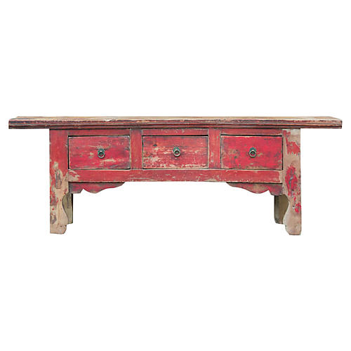 Red Tibetan Low Console