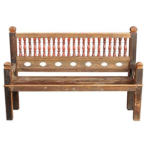 Architectural Spindle Teak Bench