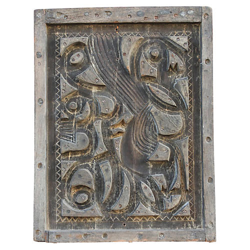 Antique Woodblock Panel