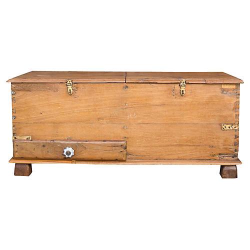 Charming Colonial Dowry Teak Box