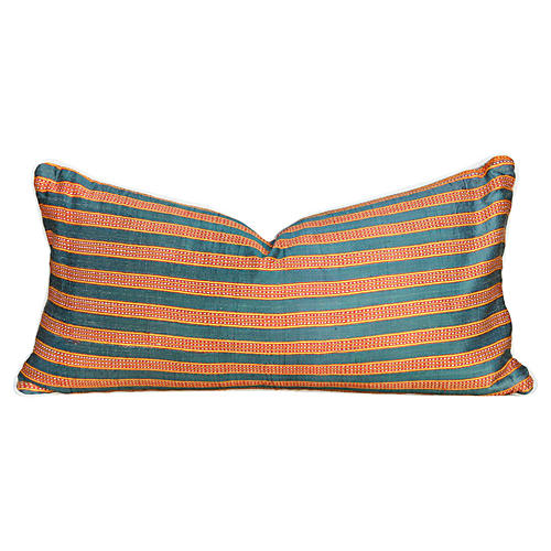 Striped Silk Lumbar Pillow