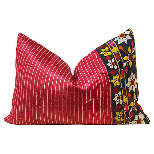 Shia Antique Mashru Lumbar Pillow