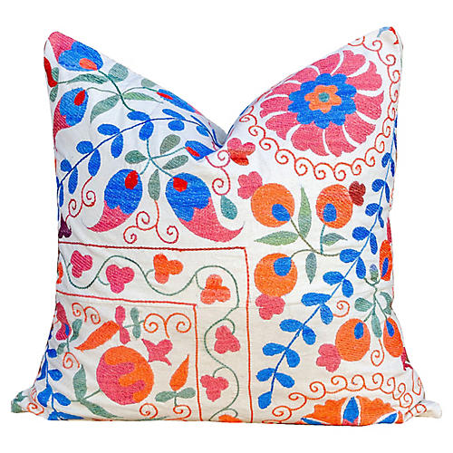 Festive Jewel Tone Uzbek Suzani Pillow