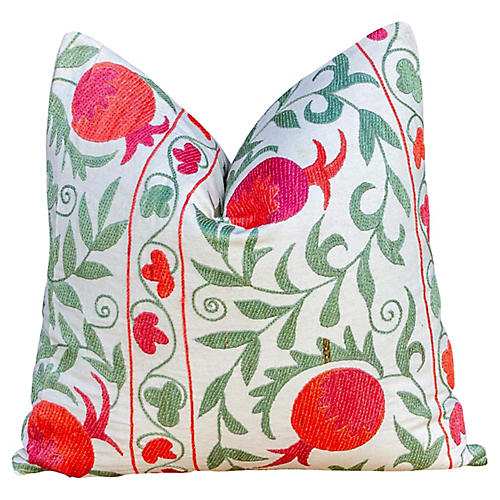 Pomegranate & Green Ivy Suzani Pillow