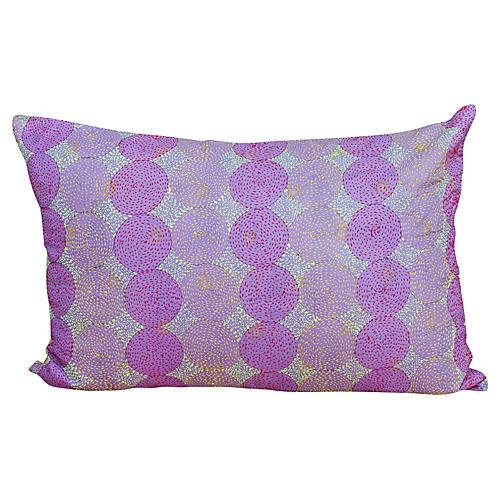 Lavender Chakra Kantha Silk Pillow