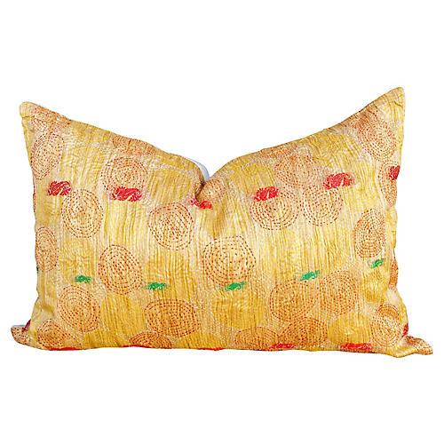 Gini Chakra Kantha Silk Pillow