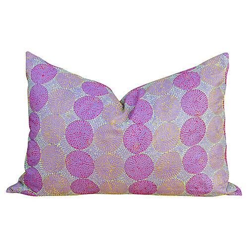 Amethyst Chakra Kantha Silk Pillow
