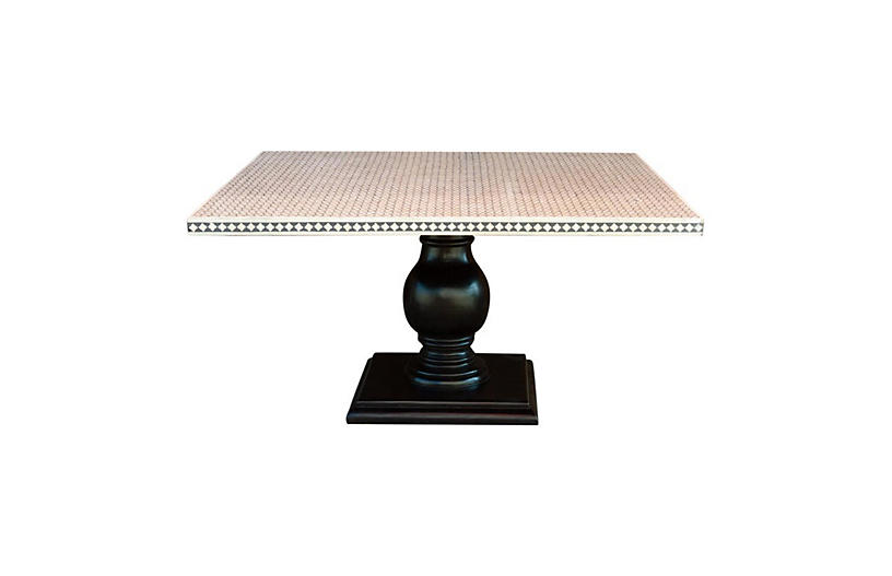 Black and White Inlay Square Table