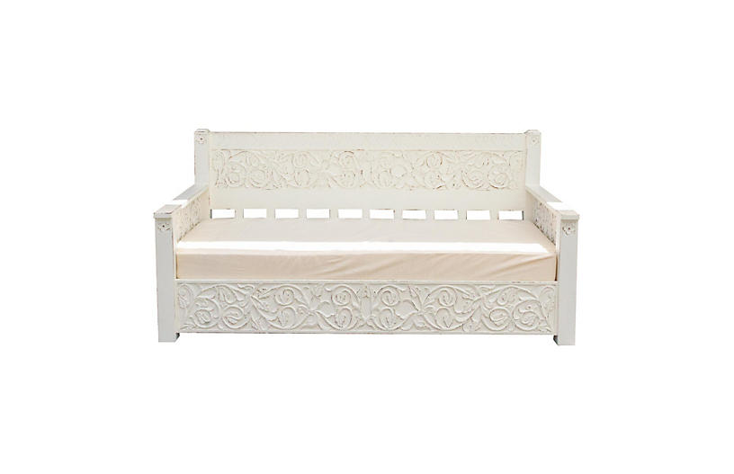 Contemporary White Floral Carved Daybed