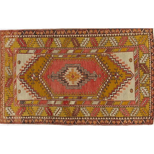 Turkish Oushak Rug, 3'11 x 6'4