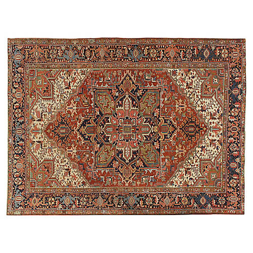 "Antique Heriz Rug, 7'3"" x 9'9"""